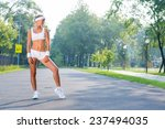 young sport woman standing in... | Shutterstock . vector #237494035