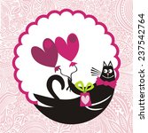 valentines day card with cat... | Shutterstock .eps vector #237542764