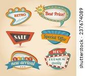 retro sale discount speech... | Shutterstock . vector #237674089