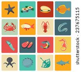 seafood icons flat set with... | Shutterstock . vector #237675115