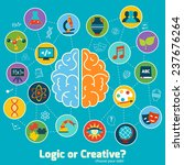 Stock photo brain left logic and right creative hemispheres concept with science icons set illustration 237676264