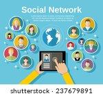 social media network concept...   Shutterstock . vector #237679891