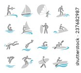 water sports icons set with...   Shutterstock . vector #237682987