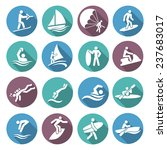 water sports white icons set...   Shutterstock . vector #237683017