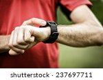runner on mountain trail... | Shutterstock . vector #237697711