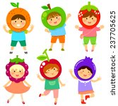 cute kids dressed like fruit | Shutterstock .eps vector #237705625