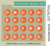 multimedia devices icons on...