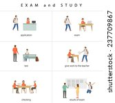 students and tutor on exam | Shutterstock .eps vector #237709867