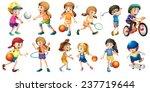 illustration of children doing... | Shutterstock .eps vector #237719644