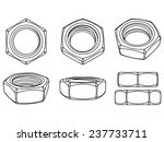 set of hexagon 3d nuts on white ... | Shutterstock .eps vector #237733711