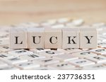 lucky word background on wood... | Shutterstock . vector #237736351