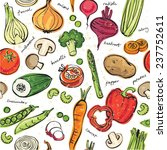 assorted vegetables seamless... | Shutterstock .eps vector #237752611