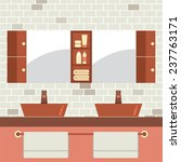 his and her sink with mirrors... | Shutterstock .eps vector #237763171