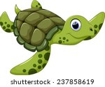 cute sea turtle cartoon | Shutterstock .eps vector #237858619