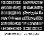 Stock vector white floral and celtic ornaments or borders on black background for vintage and decoration design 237866659