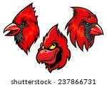 Cartooned Red Cardinal Birds...