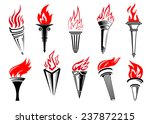 flaming torches icons set with...