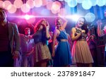 Stock photo party holidays celebration nightlife and people concept smiling friends dancing in club 237891847