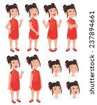 Cartoon Style Asian Girl In...