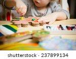 little female baby painting... | Shutterstock . vector #237899134