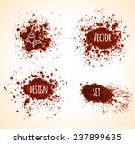 set of brown vector grunge...
