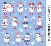 a cute snowmen collection.... | Shutterstock .eps vector #237910984