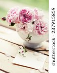 beautiful roses in a vase in... | Shutterstock . vector #237915859