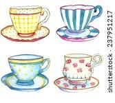 tea cups watercolor on the... | Shutterstock .eps vector #237951217