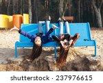 two funky friends having fun...   Shutterstock . vector #237976615