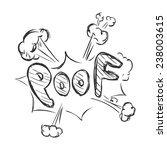vector sketch comics word   poof | Shutterstock .eps vector #238003615