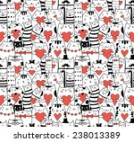 Stock vector  ats with hearts seamless pattern 238013389