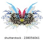tribal flaming butterfly with... | Shutterstock .eps vector #238056061
