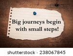 Small photo of Text big journeys begin with small steps on note paper