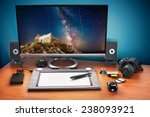 post production desk with... | Shutterstock . vector #238093921