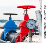 manometer  red and blue valve... | Shutterstock . vector #238094551