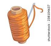 cartoon bobbin of orange thread ...   Shutterstock .eps vector #238104637