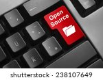 Stock photo dark grey keyboard red button open source 238107649