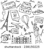 travel theme doodle vector set... | Shutterstock .eps vector #238150225