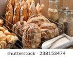 Fresh Bread In Metal Basket In...