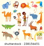 set funny african animals.... | Shutterstock .eps vector #238156651