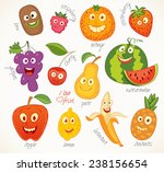 i love fruit. funny cartoon... | Shutterstock .eps vector #238156654
