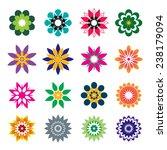 set of color geometric flowers | Shutterstock .eps vector #238179094