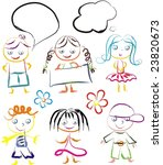 kids with banners | Shutterstock .eps vector #23820673