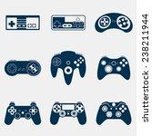 gamepad silhouette icon set   Shutterstock .eps vector #238211944
