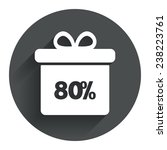 80  sale gift box tag sign icon....