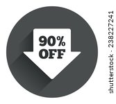 90  sale arrow tag sign icon....