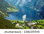 Cruise Ship In Geiranger Fjord...