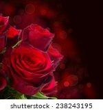 Scarlet Red Roses  On Dark...