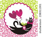 cat with hearts and romantic... | Shutterstock .eps vector #238311301
