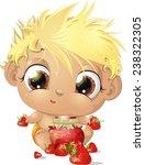 child eating strawberries all... | Shutterstock .eps vector #238322305